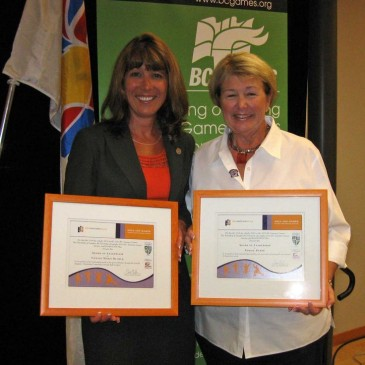 Connie Klimek and Bobbie Reber honoured at the Langley Civic Luncheon during the 2010 BC Summer Games